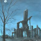Imaginary Abbey Moonlit Landscape by Lee Twigger