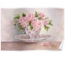 cup and saucer floral rose oil painting Poster