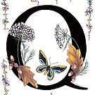 Q is for Queen Anne's Lace, Quercus and Butterfly by Constance Widen