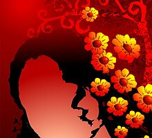 Beauty of the girl with loads of flowers by tillydesign