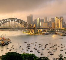 A Little Ray Of Sunshine - Sydney Harbour, Sydney Australia - The HDR Experience by Philip Johnson
