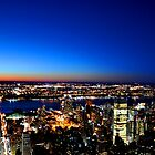 The Manhattan Landscape at Sunset by Rhys  Bevan
