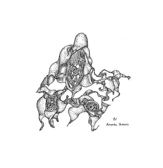 Amoeba Dance - pigment ink on paper by Regina Valluzzi