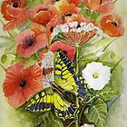 Swallow tail Butterfly and Wildflowers by Jorja