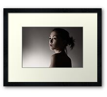 """like a deer staring at the first winter snow"" Framed Print"