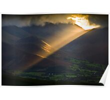 Golden rays on distant fells Poster