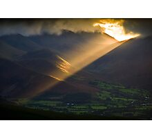 Golden rays on distant fells Photographic Print