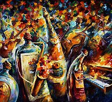Bottle Jazz - original art oil painting by Leonid Afremov by Leonid  Afremov