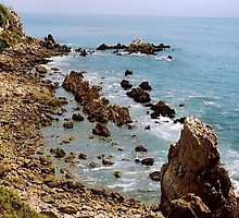 Newport Beach California rocky coastline by Rick Short