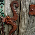 Old southwest rusted hinge wooden door gate  by Rick Short