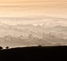 Misty Autumn Morning, Malvern Hills, UK. by Chris Tarling