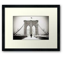 Brooklyn Bridge and Snow Framed Print