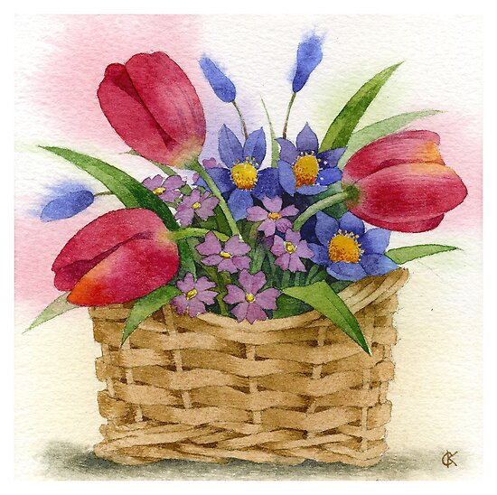 Tulips in basket by Sergei Kurbatov