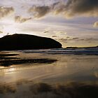 Cornwall: Last Light Reflections at Portreath Beach by Rob Parsons