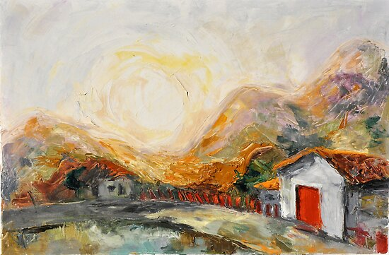 House with red door at Sunrise by Stella  Shube As