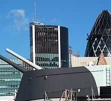 The guns of HMS Belfast with the City of London skyline behind by Chris Day
