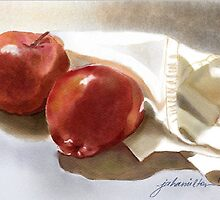 Red Apples and White Cloth  by Joan A Hamilton