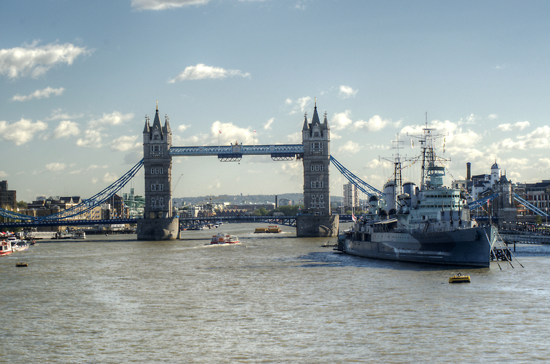 Canary Wharf Tower Bridge and HMS Belfast 3 by Chris Day