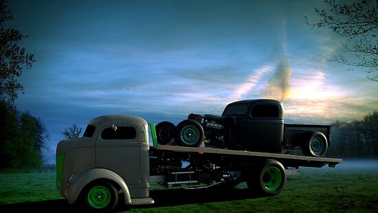 › Portfolio › 1940 Ford Cab Over Roll Back Truck with Rat Rod