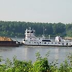 Barge coming down the Mississippi, Cairo IL by Mona Gainey-Lanier
