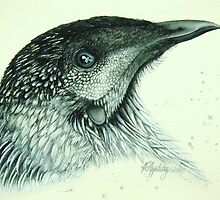 """Got my eye on you!"" (Wattle Bird) by Katherine Appleby"