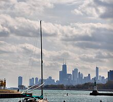 Sailboat and Skyline, Montrose Harbor by James Watkins
