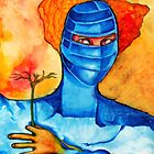 Woman in a blue mask by Veronica  Jackson