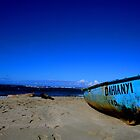Dominican Republic blue boat by Lainey Brown