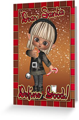 Christmas Card With Naughty Elf by Moonlake