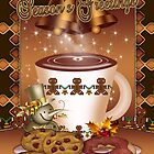 Hot Chocolate Christmas Card Bells And Holly  by Moonlake