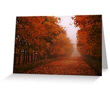 Misty Autumn morning, Gloucestershire, UK Greeting Card