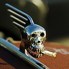 Smoking Skull Hood Ornament by Jill Reger