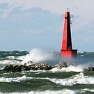 The Churning Lake Michigan by BarbL
