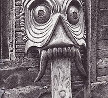 Wooden Mask, Patan, Nepal, Ink Drawing by RIYAZ POCKETWALA