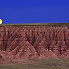 Harvest Moon Over The Badlands-Badlands National Park, SD by hastypudding