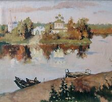 """Evening Bells"". The copy  from picture of Levitan by Alla Melnichenko"