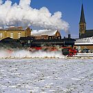 Passing steam train in snow, Germany. by David A. L. Davies