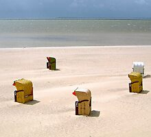 Beach chairs on the Island of Föhr, Germany by David A. L. Davies