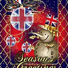 GB Patriotic Christmas Card - Season's Greetings Snowman  by Moonlake