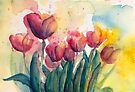 Just the Tulips from Tulips by Candlelight Watercolor by CheyAnne Sexton