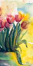 The Sunny Side of the Pot from Tulips by Candlelight Watercolor by CheyAnne Sexton