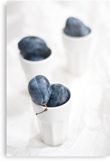 Plums on White by Ilva Beretta