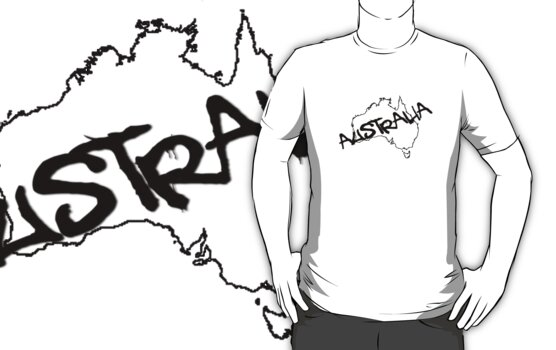 Australia outline plus text T-Shirt by Craig Stronner