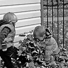 Fin and Tom playing in the Leaves by lendale