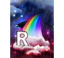 R is for Rain, Rainbow, Raven Photographic Print