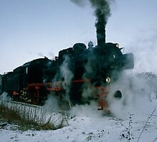 Steam locomotive in winter, Germany,1985 by David A. L. Davies