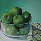 Green Apples and Tea Towel by Mary  Hughes