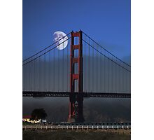 Moon Over Foggy Golden Gate Bridge . Vertical Photographic Print