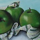 Green Apple Tea Towel II by Mary  Hughes