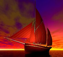 Red Boat at Sunset by Sandra Bauser Digital Art